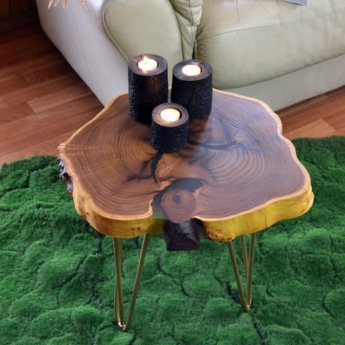 Купить журнальный столик лофт из среза дерева. Украина