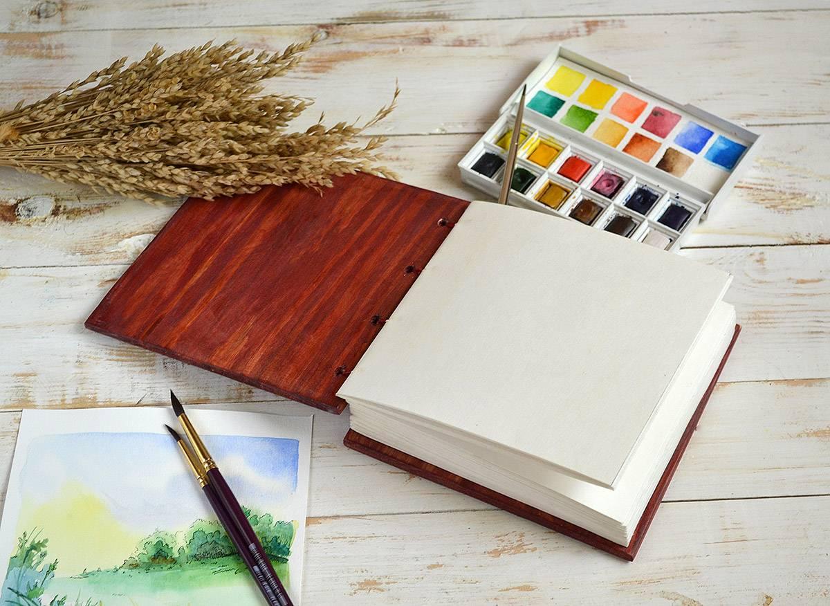 Купить Блокнот для акварели. Блокнот ручной работы в деревянной обложке купить Украина Киев